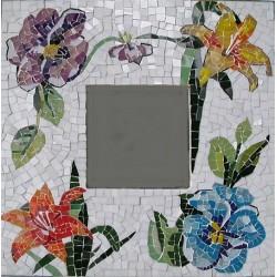 Specchio mosaico con fiori